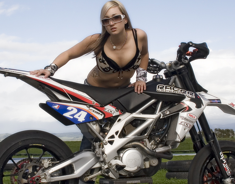 Blonde Super Moto Girl at the Racetrack